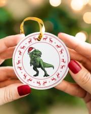 T-rex - Christmas - Circle Ornament Circle ornament - single (porcelain) aos-circle-ornament-single-porcelain-lifestyles-08