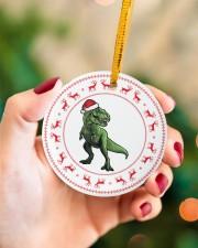 T-rex - Christmas - Circle Ornament Circle ornament - single (porcelain) aos-circle-ornament-single-porcelain-lifestyles-09