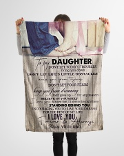 """To Daughter - Don't Let Today's Troubles  Small Fleece Blanket - 30"""" x 40"""" aos-coral-fleece-blanket-30x40-lifestyle-front-14"""