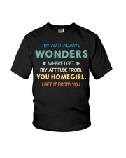 My aunt always wonders Youth T-Shirt front