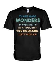 My aunt always wonders V-Neck T-Shirt thumbnail