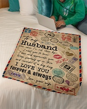 """TO MY HUSBAND - VINTAGE - I LOVE YOU Small Fleece Blanket - 30"""" x 40"""" aos-coral-fleece-blanket-30x40-lifestyle-front-07"""