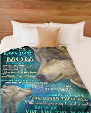 "DAUGHTER TO MOM Large Fleece Blanket - 60"" x 80"" aos-coral-fleece-blanket-60x80-lifestyle-front-02"