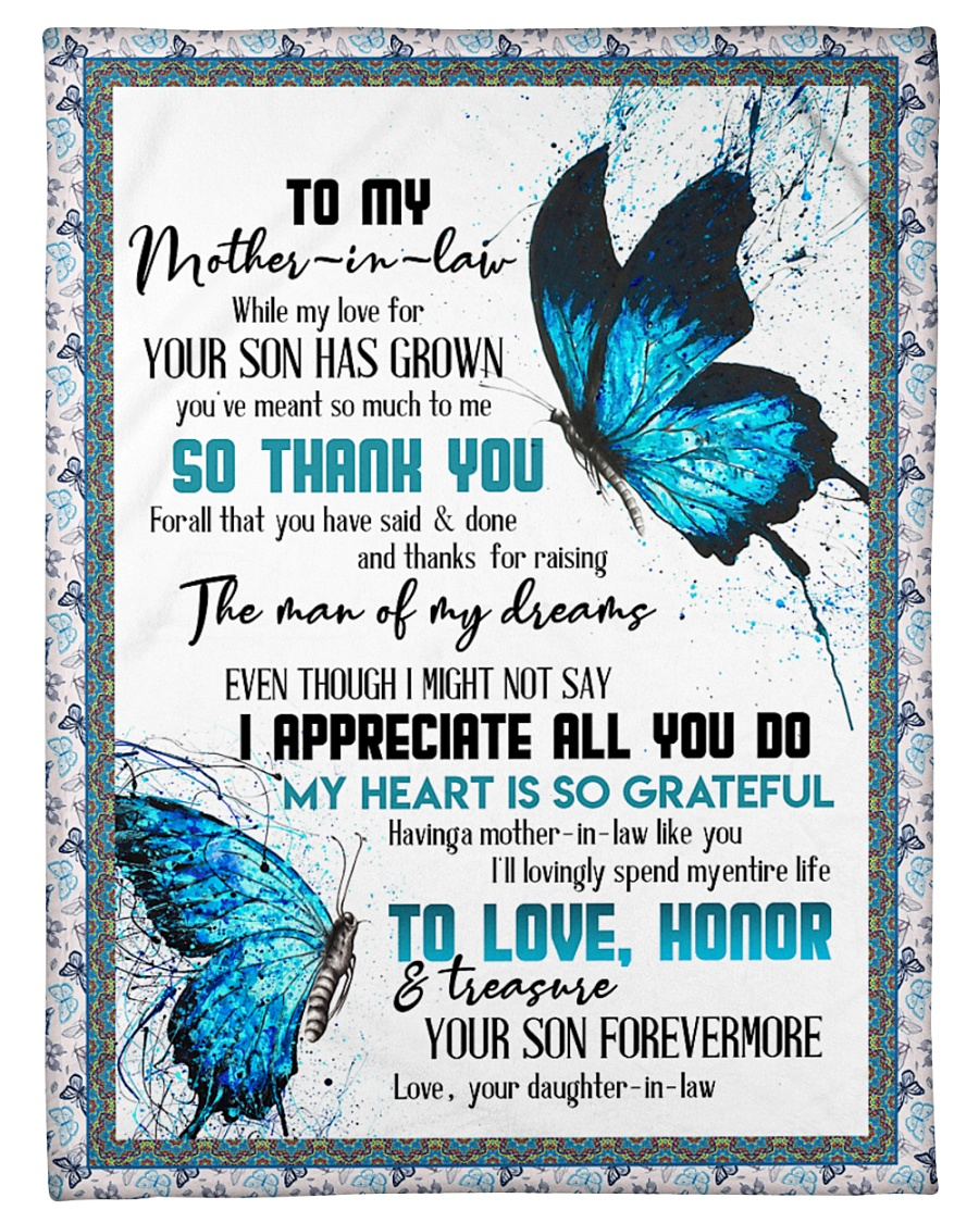 """TO MY MOTHER-IN-LAW - BUTTERFLY - THANK YOU Small Fleece Blanket - 30"""" x 40"""""""