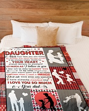 """To My Daughter - Never Feel That You Are Alone Large Fleece Blanket - 60"""" x 80"""" aos-coral-fleece-blanket-60x80-lifestyle-front-02"""
