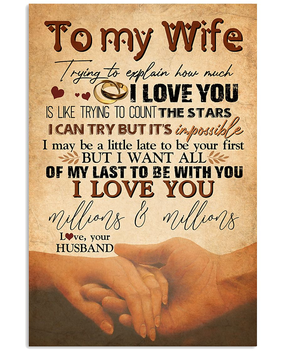 TO MY WIFE - HAND IN HAND - I LOVE YOU 16x24 Poster