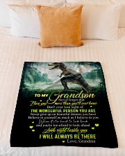 "GRANDMA TO GRANDSON - T REX - BE THERE Small Fleece Blanket - 30"" x 40"" aos-coral-fleece-blanket-30x40-lifestyle-front-04"