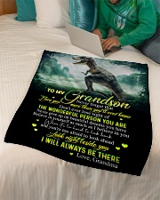 "GRANDMA TO GRANDSON - T REX - BE THERE Small Fleece Blanket - 30"" x 40"" aos-coral-fleece-blanket-30x40-lifestyle-front-07"