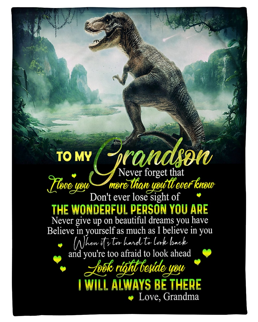 "GRANDMA TO GRANDSON - T REX - BE THERE Small Fleece Blanket - 30"" x 40"""