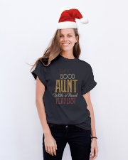 Just a Good Aunt with a hood playlist Classic T-Shirt lifestyle-holiday-crewneck-front-1