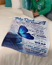 "FLEECE BLANKET - TO MY ANGEL DAD  Small Fleece Blanket - 30"" x 40"" aos-coral-fleece-blanket-30x40-lifestyle-front-07"