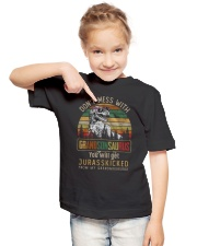 TO MY GRANDSON - T REX - DON'T MESS WITH Youth T-Shirt lifestyle-youth-tshirt-front-2