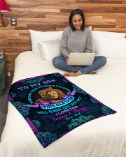 """To Son - When Life Tries To Knock You Down Small Fleece Blanket - 30"""" x 40"""" aos-coral-fleece-blanket-30x40-lifestyle-front-08"""