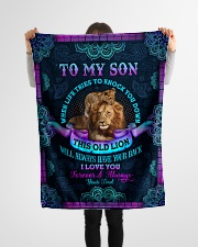 """To Son - When Life Tries To Knock You Down Small Fleece Blanket - 30"""" x 40"""" aos-coral-fleece-blanket-30x40-lifestyle-front-14"""