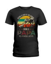 GRANDPA AND DAD - DINO - BEING A DAD IS AN HONOR Ladies T-Shirt thumbnail