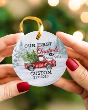 To My Wife - Christmas Truck - Our First Christmas Circle ornament - single (porcelain) aos-circle-ornament-single-porcelain-lifestyles-08