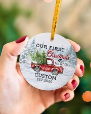 To My Wife - Christmas Truck - Our First Christmas Circle ornament - single (porcelain) aos-circle-ornament-single-porcelain-lifestyles-09
