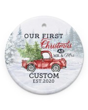 To My Wife - Christmas Truck - Our First Christmas Circle ornament - single (porcelain) front