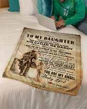 """To Daughter - Once Upon A Time There Was A Girl Small Fleece Blanket - 30"""" x 40"""" aos-coral-fleece-blanket-30x40-lifestyle-front-07"""