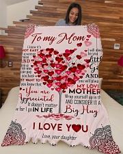"To My Mom - Heart Tree - Fleece Blanket Large Fleece Blanket - 60"" x 80"" aos-coral-fleece-blanket-60x80-lifestyle-front-04"