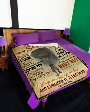 """To My Son - Sometimes It's Hard To Find Words Large Fleece Blanket - 60"""" x 80"""" aos-coral-fleece-blanket-60x80-lifestyle-front-01"""