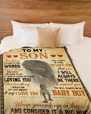 """To My Son - Sometimes It's Hard To Find Words Large Fleece Blanket - 60"""" x 80"""" aos-coral-fleece-blanket-60x80-lifestyle-front-02"""