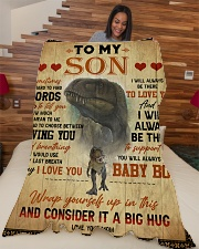 """To My Son - Sometimes It's Hard To Find Words Large Fleece Blanket - 60"""" x 80"""" aos-coral-fleece-blanket-60x80-lifestyle-front-04"""