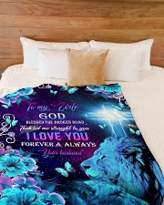 "To My Wife - Lions - Cross - God Blessed  Large Fleece Blanket - 60"" x 80"" aos-coral-fleece-blanket-60x80-lifestyle-front-02"