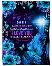 "To My Wife - Lions - Cross - God Blessed  Large Fleece Blanket - 60"" x 80"" front"