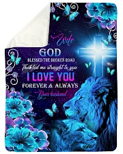"To My Wife - Lions - Cross - God Blessed  Large Sherpa Fleece Blanket - 60"" x 80"" thumbnail"