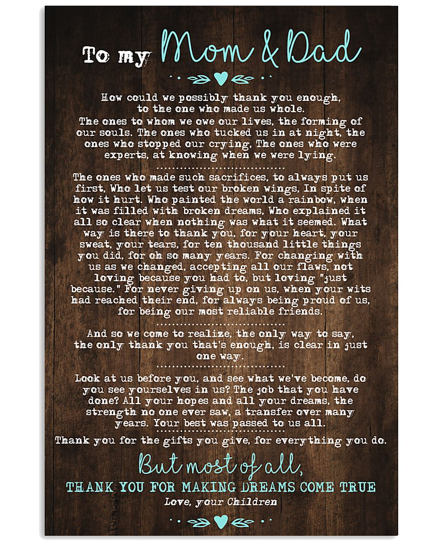 CHILDREN TO MOM AND DAD 16x24 Poster