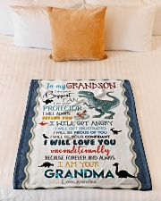 """TO MY GRANDSON - T REX - I AM YOUR BIGGEST FAN Small Fleece Blanket - 30"""" x 40"""" aos-coral-fleece-blanket-30x40-lifestyle-front-04"""