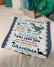 """TO MY GRANDSON - T REX - I AM YOUR BIGGEST FAN Small Fleece Blanket - 30"""" x 40"""" aos-coral-fleece-blanket-30x40-lifestyle-front-07"""