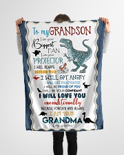 """TO MY GRANDSON - T REX - I AM YOUR BIGGEST FAN Small Fleece Blanket - 30"""" x 40"""" aos-coral-fleece-blanket-30x40-lifestyle-front-14"""