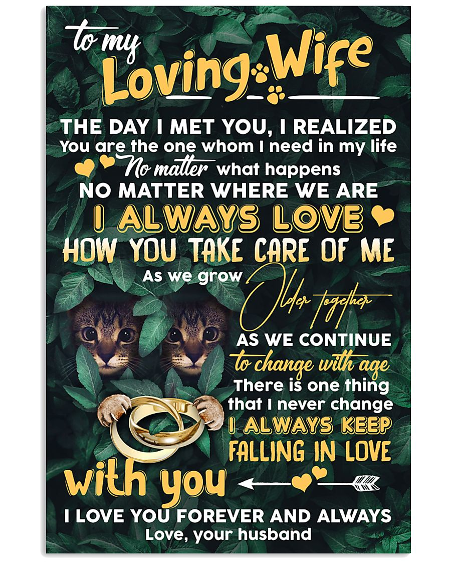 TO MY WIFE - CAT - I LOVE YOU 16x24 Poster