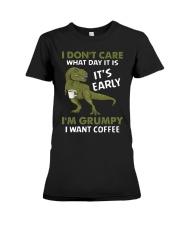 T-SHIRT - COFFEE - I DON'T CARE  Premium Fit Ladies Tee thumbnail