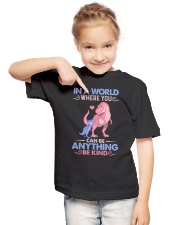 GRANDMA TO GRANDKIDS - IN A WORLD - BE KIND Youth T-Shirt lifestyle-youth-tshirt-front-2