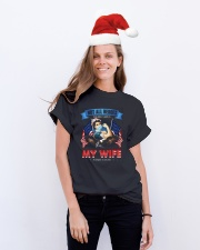 T-SHIRT - MY WIFE WEARS SCRUBS - NURSE Classic T-Shirt lifestyle-holiday-crewneck-front-1