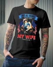 T-SHIRT - MY WIFE WEARS SCRUBS - NURSE Classic T-Shirt lifestyle-mens-crewneck-front-6