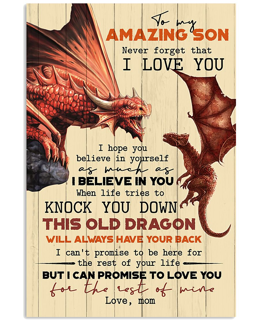 TO MY SON - FIRE DRAGON - OLD DRAGON 16x24 Poster