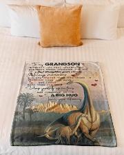 "To My Grandson - Dinosaur - Fleece Blanket Small Fleece Blanket - 30"" x 40"" aos-coral-fleece-blanket-30x40-lifestyle-front-04"