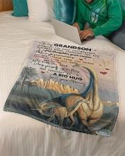 "To My Grandson - Dinosaur - Fleece Blanket Small Fleece Blanket - 30"" x 40"" aos-coral-fleece-blanket-30x40-lifestyle-front-07"