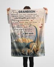 "To My Grandson - Dinosaur - Fleece Blanket Small Fleece Blanket - 30"" x 40"" aos-coral-fleece-blanket-30x40-lifestyle-front-14"