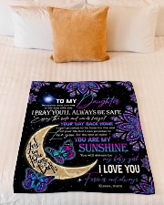 """Daughter - Moon And Butterfly - Wherever Your Small Fleece Blanket - 30"""" x 40"""" aos-coral-fleece-blanket-30x40-lifestyle-front-04"""