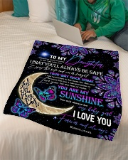 """Daughter - Moon And Butterfly - Wherever Your Small Fleece Blanket - 30"""" x 40"""" aos-coral-fleece-blanket-30x40-lifestyle-front-07"""