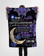"""Daughter - Moon And Butterfly - Wherever Your Small Fleece Blanket - 30"""" x 40"""" aos-coral-fleece-blanket-30x40-lifestyle-front-14"""