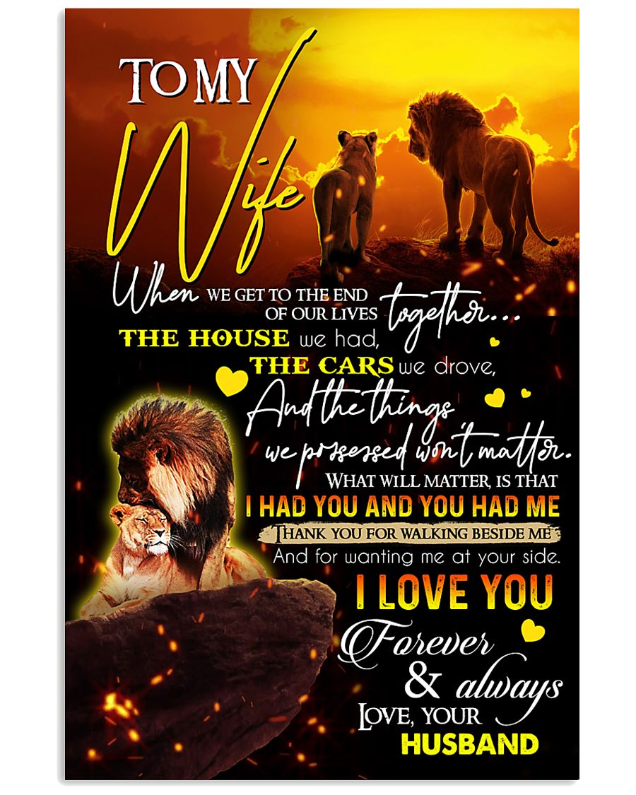 TO MY WIFE - LION - I LOVE YOU 16x24 Poster