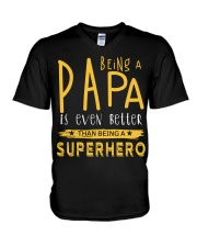BEING A PAPA IS EVEN BETTER THAN BEING SUPERHERO V-Neck T-Shirt tile