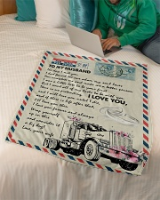 """To My Husband - Trucker - The Day I Met You  Small Fleece Blanket - 30"""" x 40"""" aos-coral-fleece-blanket-30x40-lifestyle-front-07"""