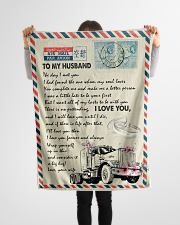 """To My Husband - Trucker - The Day I Met You  Small Fleece Blanket - 30"""" x 40"""" aos-coral-fleece-blanket-30x40-lifestyle-front-14"""